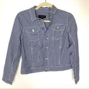Talbots Blue and White Gingham Jacket Size Small P